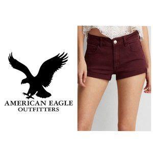 AMERICAN EAGLE Burgundy High Rise Shortie